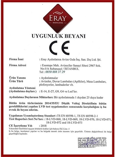 Eray Aydınlatma ERSG0010 Sarı Tekli Avize Sarı